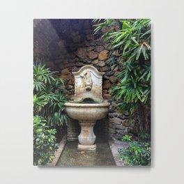 Secret Garden Fountain Malaga Alcazaba Metal Print