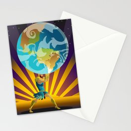 atlas holding the world Stationery Cards