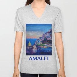 Retro Vintage Style Travel Poster Amazing Amalfi Coast At Sunset Unisex V-Neck