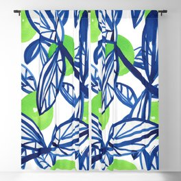 Blue and lime green abstract apple tree Blackout Curtain