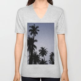 Tropical palm trees in sunset blue Unisex V-Neck
