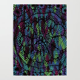 Purple and Green Doodle 14 Poster
