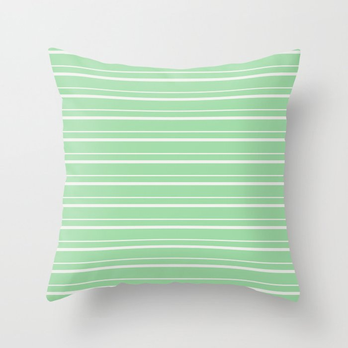 Linen Off White Horizontal Line Pattern 3 on Pastel Green Pairs to 2020 Color of the Year Neo Mint Throw Pillow