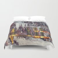 cities Duvet Covers featuring Stalactite Cities by tranquileyez