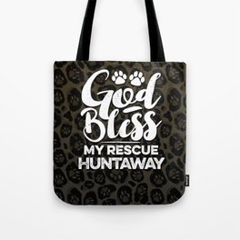 God Bless My Rescue Huntaway Leopard Print Dog Paw Pattern Gift Tote Bag