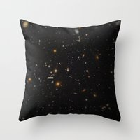 graphic Throw Pillows featuring THE UNIVERSE - Space | Time | Stars | Galaxies | Science | Planets | Past | Love | Design by Mike Gottschalk