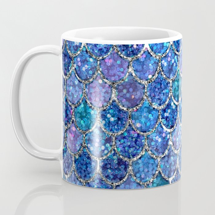 Sparkly Shades of Blue & Silver Glitter Mermaid Scales Coffee Mug