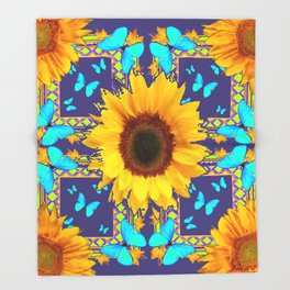 Turquoise Butterflies & Yellow Sunflower Puce-Grey Art Throw Blanket
