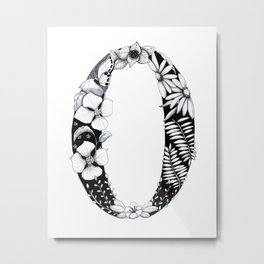 Floral Pen and Ink Letter O Metal Print