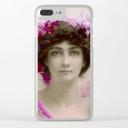 Beautiful,young lady,Belle epoque,victorian era, vintage, angelic girl, beautiful,floral,gentle,peac Clear iPhone Case