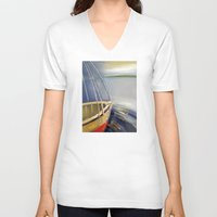 skyline V-neck T-shirts featuring Skyline by Vilnis Klints