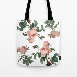 Rose Garden Butterfly Pink on White Tote Bag