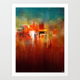 DownTown China Abstract Painting - Textured Acrylic On Canvas Art Print