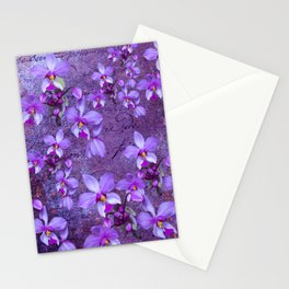 purple orchids on a textured wall Stationery Cards