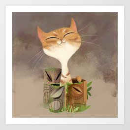 Tiki Kitty Art Print