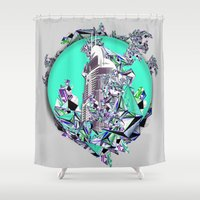cityscape Shower Curtains featuring Cityscape by infloence