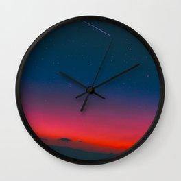 Neon Blue Pink Night Star Sky Wall Clock