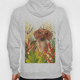 Little Dog with with Palm leaves Hoody