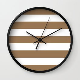 Pale brown - solid color - white stripes pattern Wall Clock