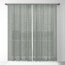 Mudcloth Big Arrows in Leaf Green Sheer Curtain