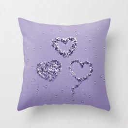 Ultra Violet LOVE Glitter Hearts #1 #shiny #decor #art #society6 Throw Pillow
