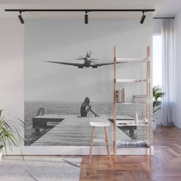 Steady As She Goes; aircraft coming in for an island landing black and white photography- photographs Wall Mural