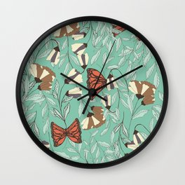 Beautiful Vintage Butterfly And Flower Pattern Wall Clock