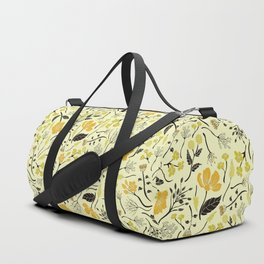 Yellow, Green & Black Floral/Botanical Pattern Duffle Bag