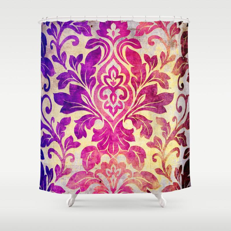 Purple Damask Pattern Shower Curtain By Serigraphonart Society6