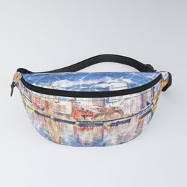Providence Waterfront, Rhode Island landscape painting Fanny Pack