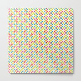 Rainbow Geometric Lattice Circles Pattern Metal Print