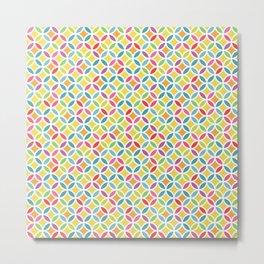 Rainbow Geometric Lattice Circles Pattern Metal Print