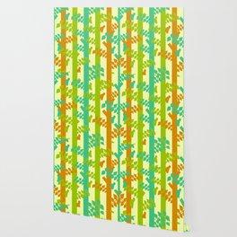 Birds and tree trunks Wallpaper