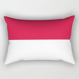 White and Crimson Red Horizontal Halves Rectangular Pillow
