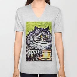 Cat on Coffee Break - Louis Wain Cats Unisex V-Neck