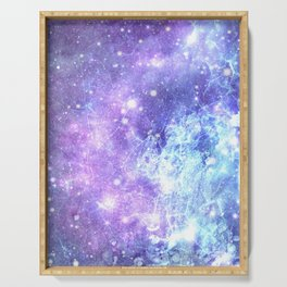 Grunge Galaxy Lavender Periwinkle Blue Serving Tray