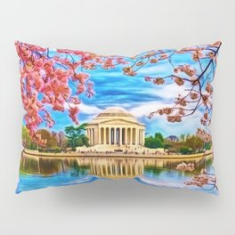 Spring Japanese Cherry Blossoms at the Jefferson Memorial Landscape by Jeanpaul Ferro Pillow Sham