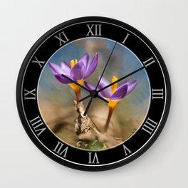 Violet crocuses Wall Clock