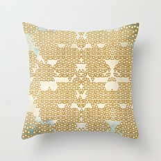 Mint and Gold Empire Throw Pillow