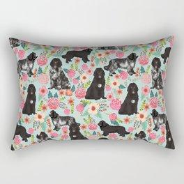 Newfoundland dog owner florals dog pattern print dog breed custom portrait by pet friendly Rectangular Pillow