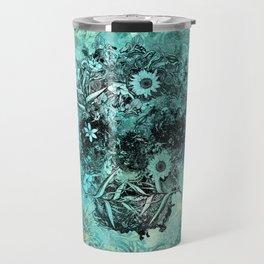 Floral Skull Blue Travel Mug