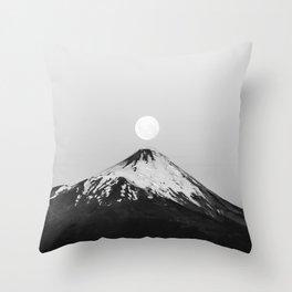 minimalist moonrise landscape photography | chilean volcano & full moon Throw Pillow