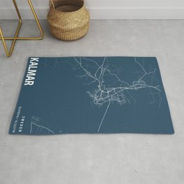 Kalmar Blueprint Street Map, Kalmar Colour Map Prints Rug