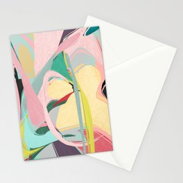 Shapes and Layers no.23 - Abstract Draper pink, green, blue, yellow Stationery Cards