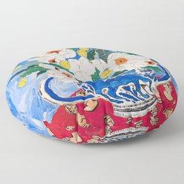 Queen of California - Giant Matilija Poppy Bouquet in Lion Vase on Blue Floor Pillow