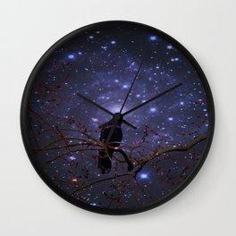 Black crow in moonlight Wall Clock