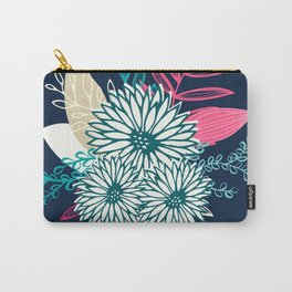 Winter Flowers in Pink and Blue Carry-All Pouch