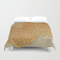 norway Duvet Covers featuring Vintage Map of Norway (1914)  by BravuraMedia