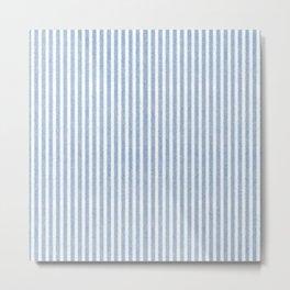 Nappy Faux Velvet Stripes in Blue on White Metal Print