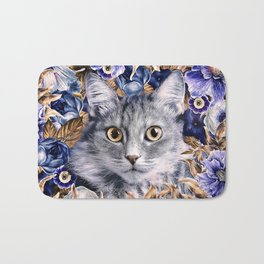 Cat in Flowers. Autumn Bath Mat
